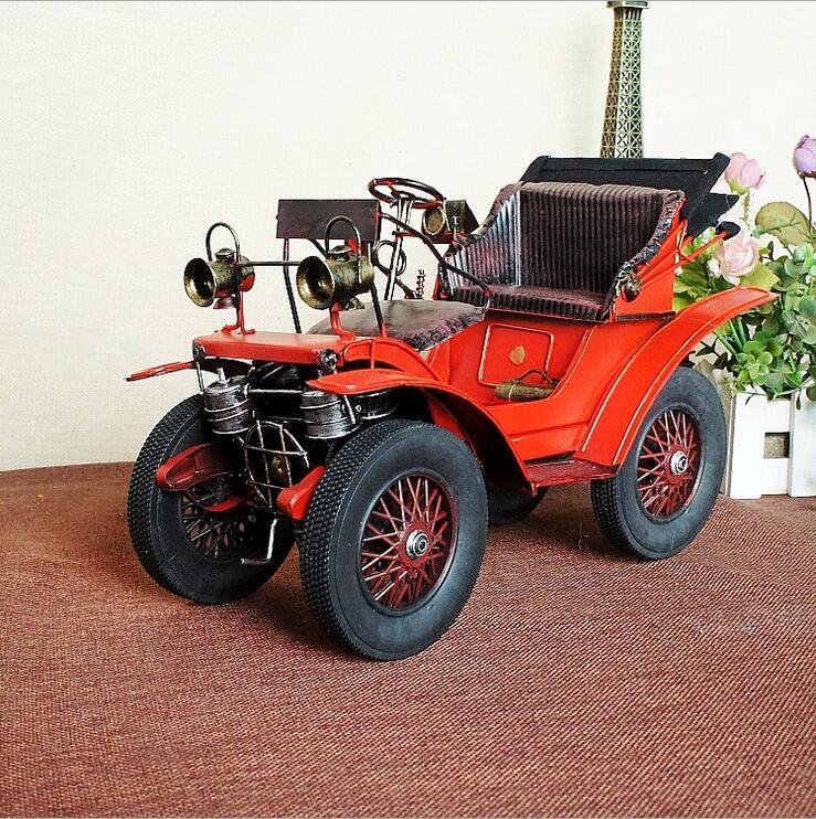 Vintage classique rouge voiture modèle accessoires métal artisanat ornements Bar café rétro voiture artisanat ameublement Articles décor