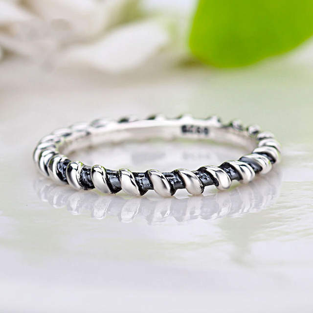 fda80fadeeeb6 New 925 Sterling Silver Ring Intertwined Twist Fairy Tale Stackable Rings  For Women Wedding Party Gift Fine Pandora Jewelry