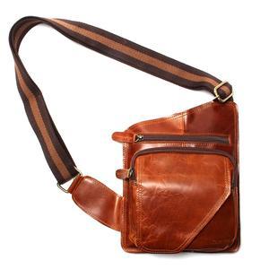 Image 2 - Nieuwe Hoge Kwaliteit Vintage Casual Crazy Horse Leer Echt Koeienhuid Mannen Borst Zak Kleine Messenger Bags Voor Man