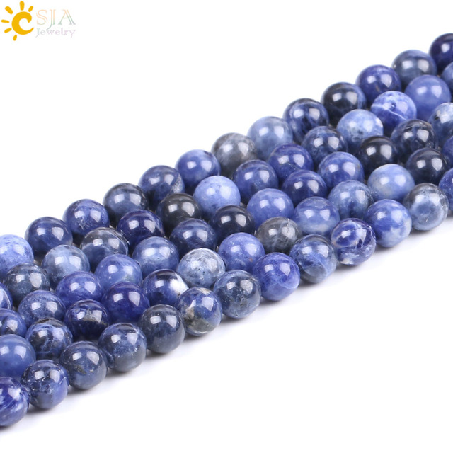 CSJA Natural Stone Sodalite Bead Blue White Loose Beads Different Sizes Available for Men Female Handmade Creative Jewelry F232