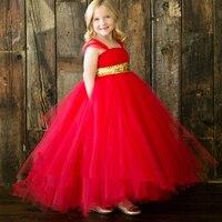 Nowy Projekt Księżniczka Handmade Red Flower Girl Dress z Sparkle Złota Wstążka Dziewczyna Party Dress Na Wesele Urodziny