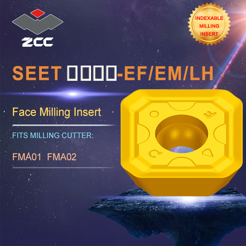 ZCC.CT lathe inserts SEET SEET-EF/EM/LH for indexable profile milling tool FMA01 FMA02 for face milling indexable milling tools cnc milling tool smp01 100 4 a27 sn12 10 with 10pcs xseq1202 carbide milling inserts indexable face and side milling head