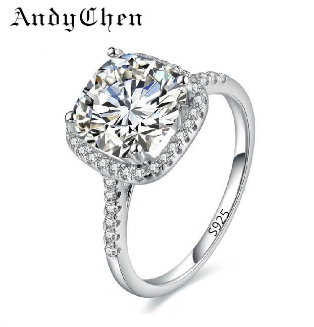 AndyChen Silver Color Wedding Ring for Women AAA Zircon Jewelry Bague Bijoux Femme Engagement Accessories ASR035