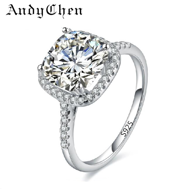 Drop Shipping AndyChen Silver Plated Wedding Ring for Women AAA Zircon Jewelry Bague Bijoux Femme Engagement Accessories MSR035