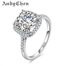 Plateó Los Anillos de Bodas de plata Para Las Mujeres Plaza Diamante Simulado anillo de Compromiso Joyería Bijoux Bague Femme Accesorios ASR035