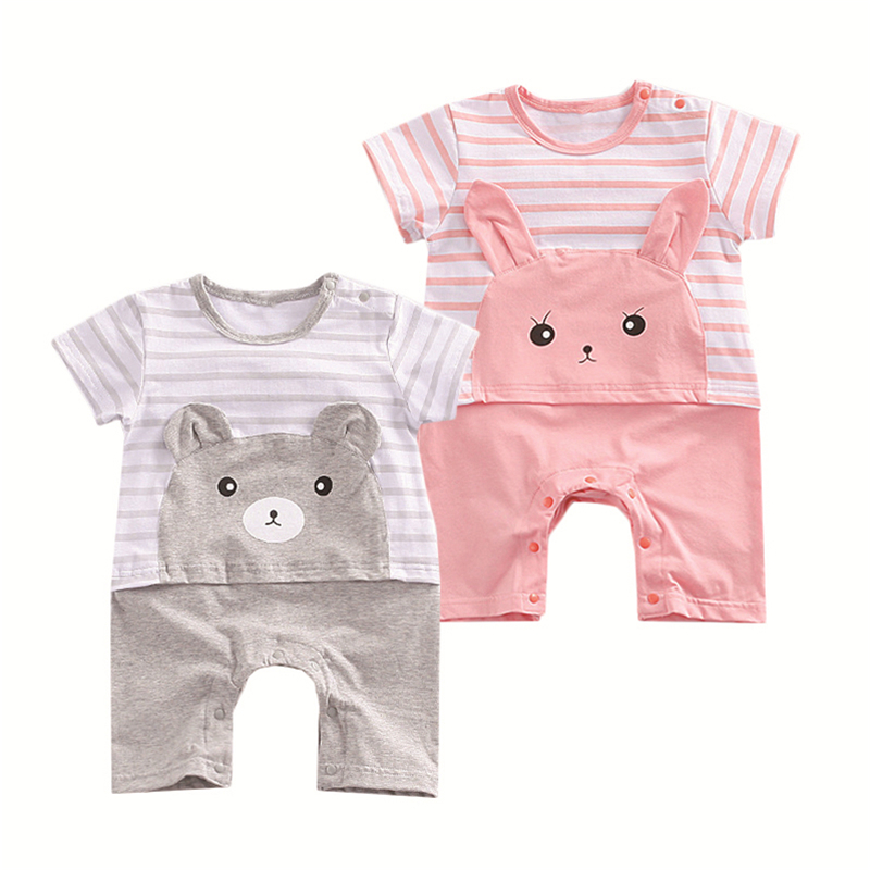 2018 Baby Summer Infant Clothing Bear short sleeved cotton romper boxer newborn wear Cute striped cartoon animals, clothing