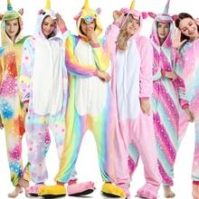 Rainbow Unicorn Pajamas Adults Animal Onesies for Women Suit  Cartoon Kigurumi Uincorn Men Winter Flannel Sleepwear