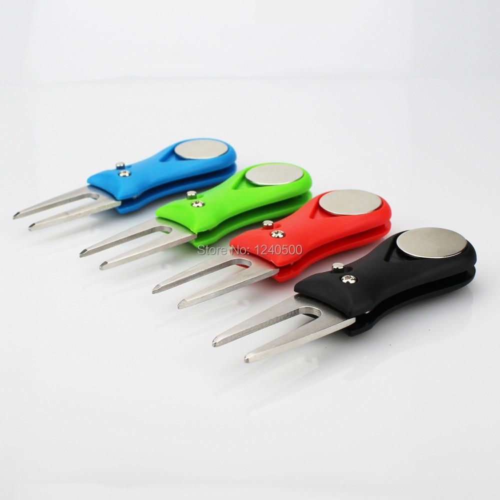 Golf Divot Tool Repair Switchblade Tool Steel Pitch Groove Cleaner Pitchfork W Golf Ball Mark Dropshipping