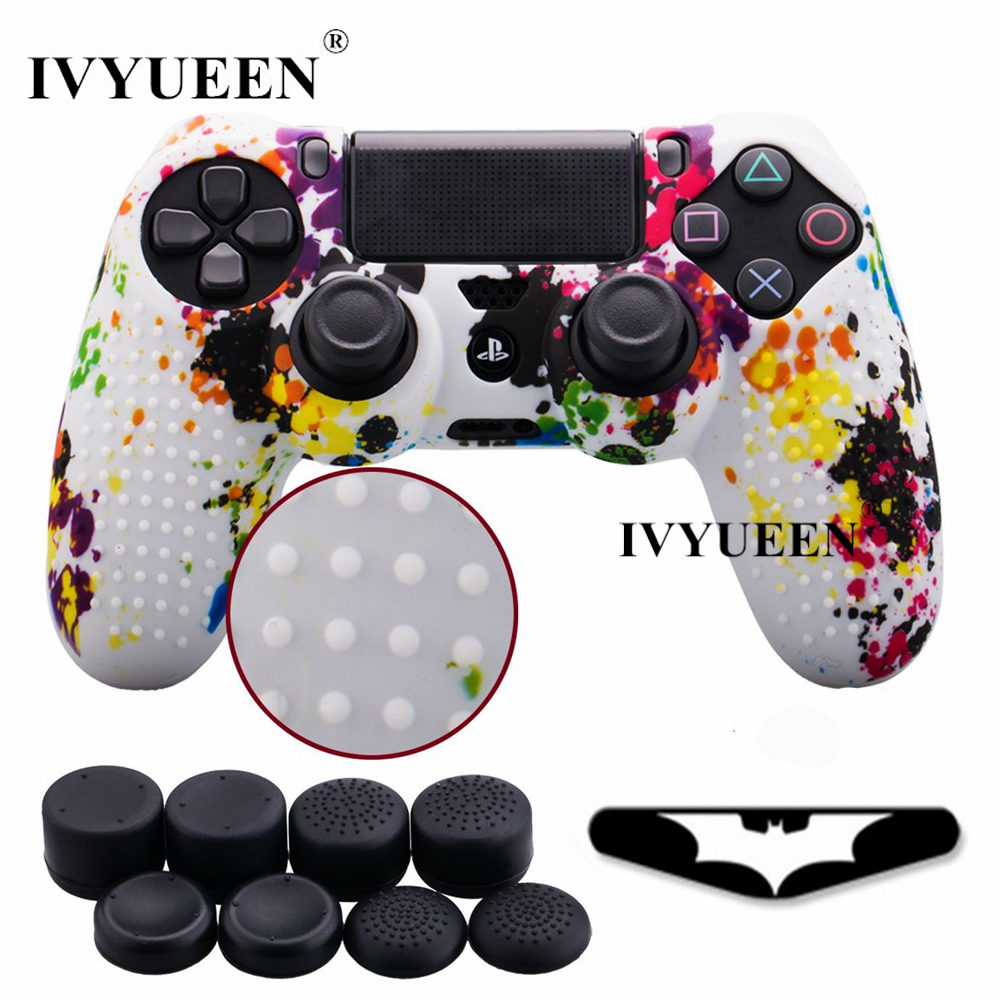 IVYUEEN 10 in 1 Studded Soft Silicone Protective Skin Case for Sony Dualshock 4 PS4 Pro Slim Controller with 8 Analog Stick Cap