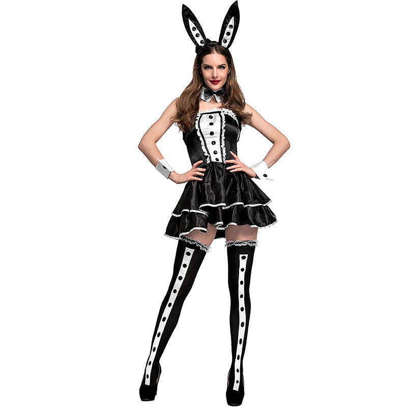 Adult Sexy Womens Fanciest Dapper Tuxedo Style Bunny Club Wear Halloween Costume