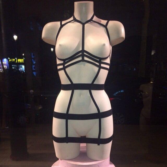 2017 новый пастель гот эластичный поясок готический бюст ремень бюстгальтер Rave носите сексуальные женщины топ белье костюм черный розничная