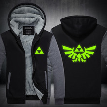 2016 The Legend of Zelda Hoodie Thicken Fleece Coat Game Luminous Mens Zipper Hoodie Game Sweatshirts
