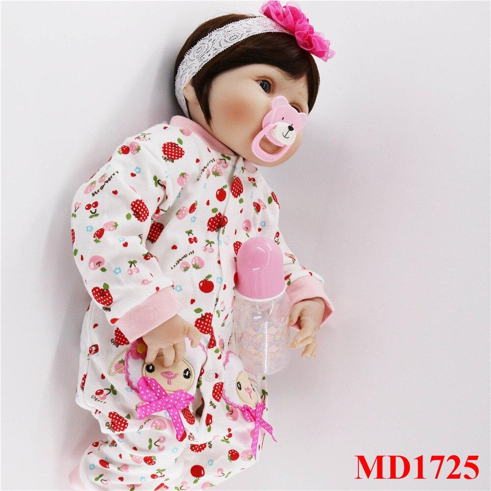 56 cm corps complet silicone bebes fille poupées mignon cheveux courts réel doux toucher vivant reborn bébé jouets pour enfants cadeau d'anniversaire - 2