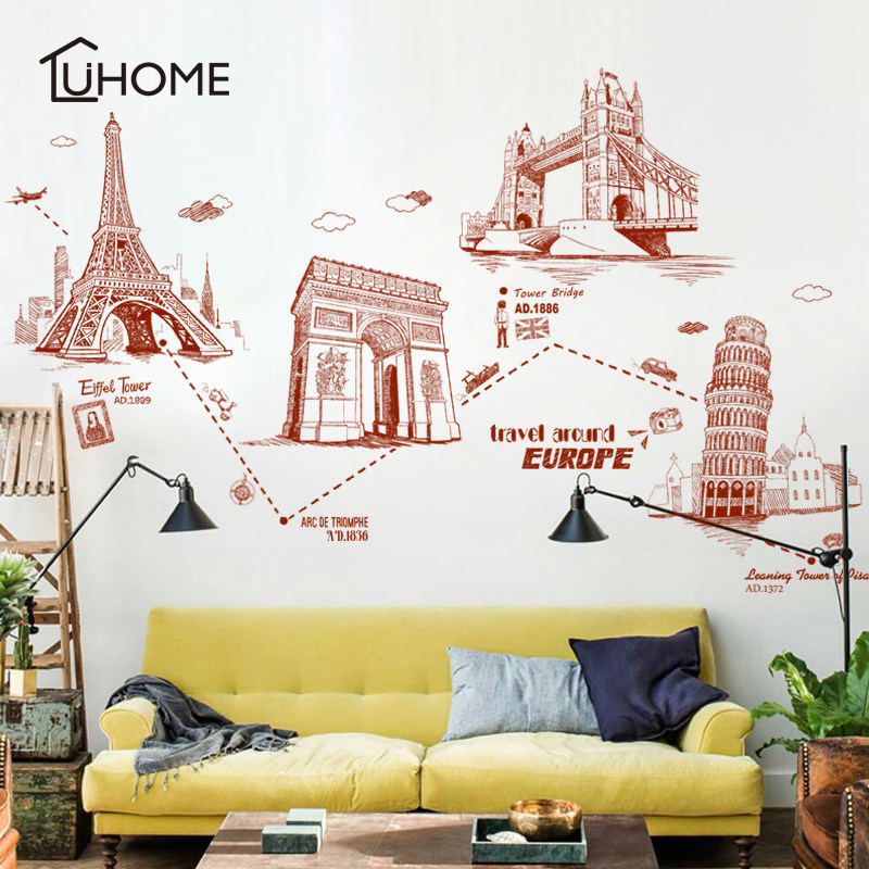 Nordic Style Architecture Wall Decals Vinyl Mural Art Wall Stickers Children Room Modern Decor for Living Room Bedroom Office