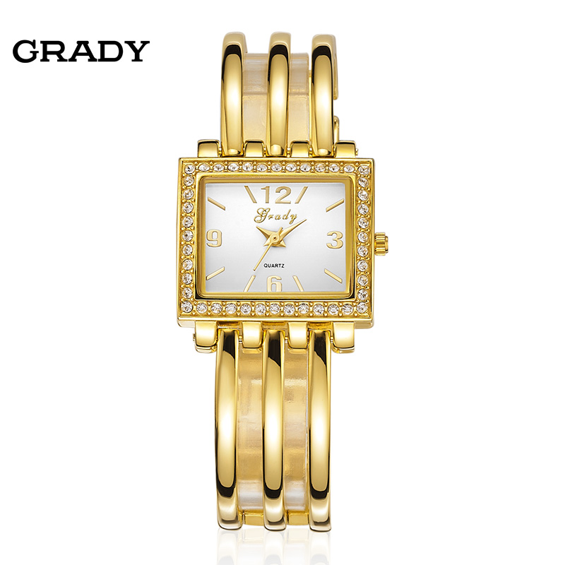 Free shipping 2016 Grady new fashion gold plated bracelet ladies quartz watch women watches wristwatches 2016 luxury brand ladies quartz fashion new geneva watches women dress wristwatches rose gold bracelet watch free shipping
