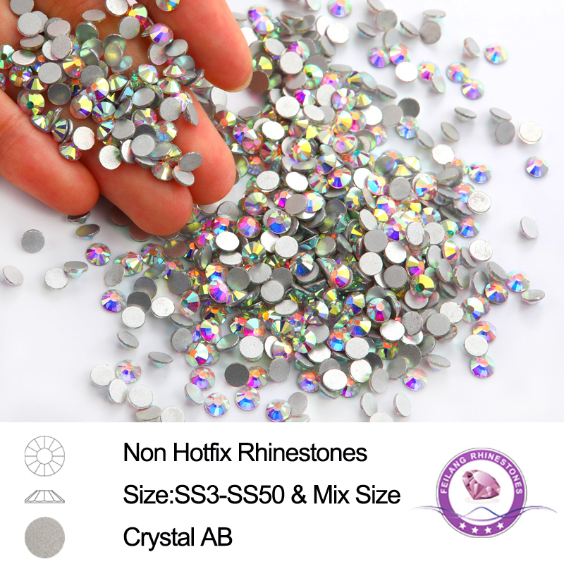 Glitter Crystal AB SS3-SS30 Glass Rhinestones For Nail  Non-Warm Correction On Flatback Strass Stones 3D Nail Art Stone