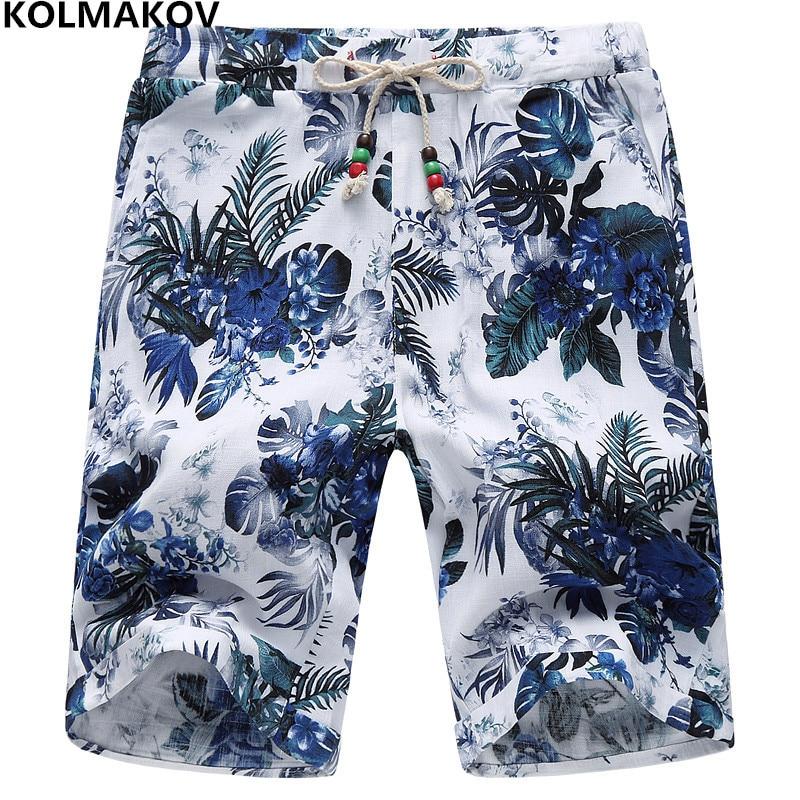 KOLMAKOV New Style Men   Shorts   Summer Beach Floral Printed   Shorts   2019 Knee Length Quick Dry Cotton Pants Plus-Size   Board     Shorts