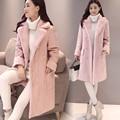 Abrigo de lana de las mujeres de Corea del invierno gruesa nuevo abrigo largo de piel de venado wadded Delgada de algodón color sólido más el tamaño caliente de la chaqueta MZ1166