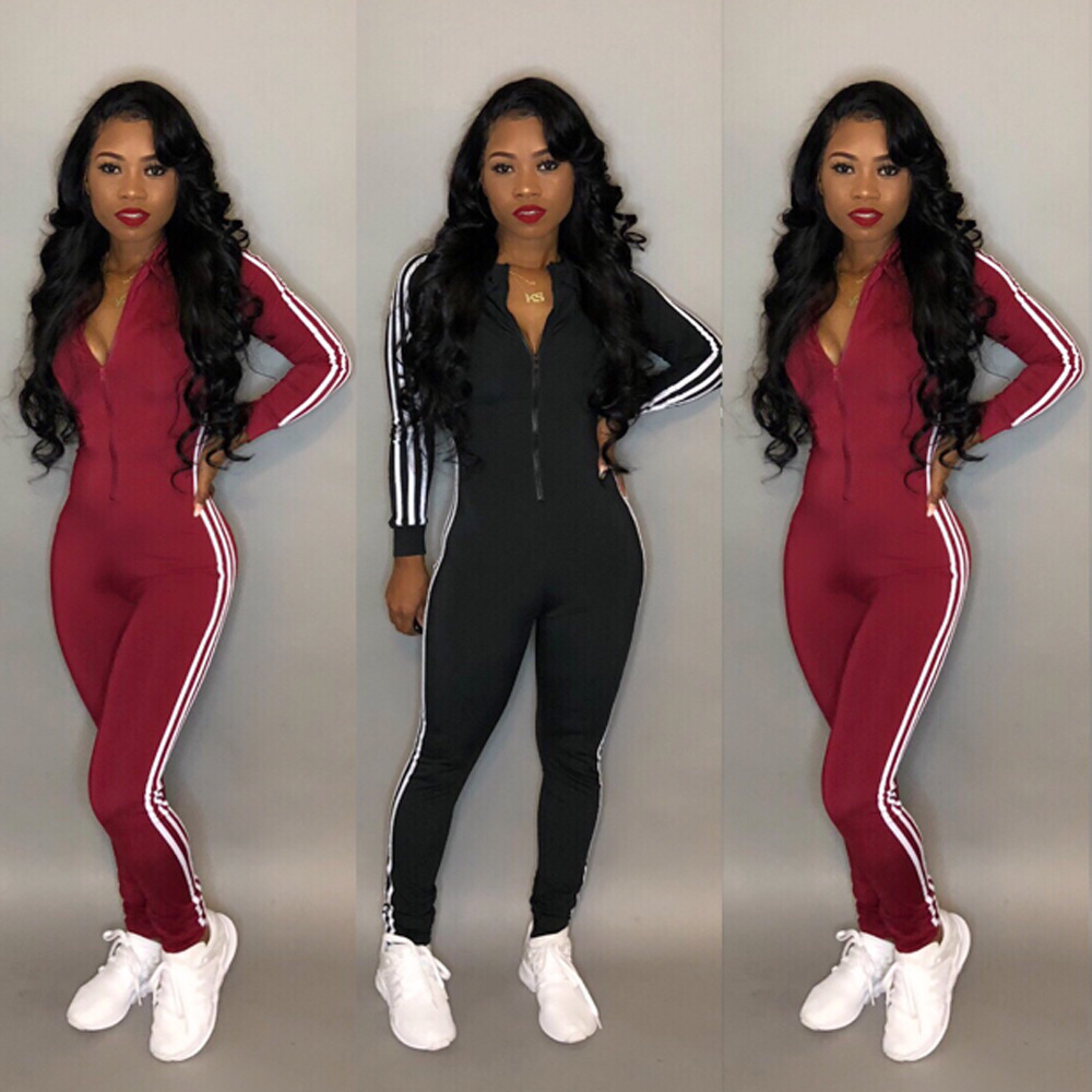 Nice Ahvit Autumn Casual Sportswear Front Zipper Full Sleeve Bodycon Full Length Jumpsuits Red Black Color Women Bodysuit Mc3019 Superior (In) Quality