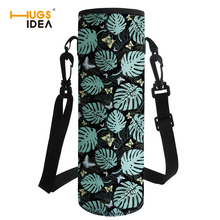 HUGSIDEA Tropical Leaves Water Bottle Sleeve Insulation Drink Bottle Carrying Pouch Bag with Strap Sport Water Bottle Covers double deck water resistant cube carrying bag pouch black