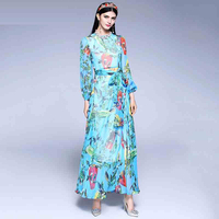 High Quality Newest Spring Pretty Print Chiffon Long Dress For Women 2018 High Quality Full Puff