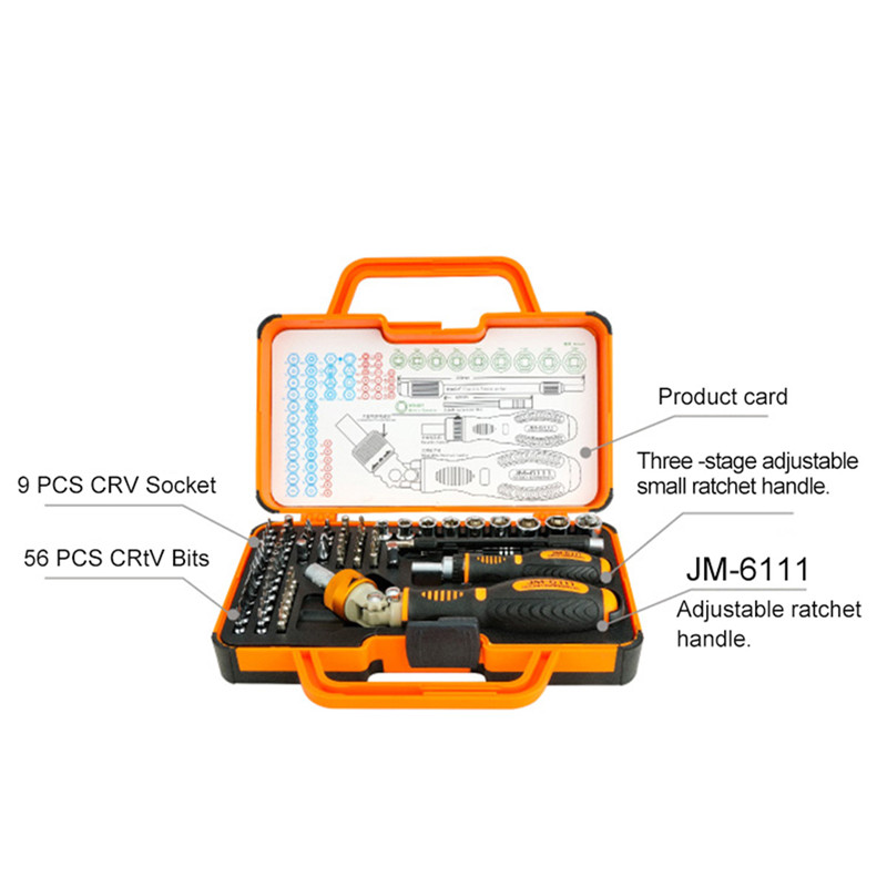 JAKEMY JM-6111 69 in 1 Professional Screwdriver Hardware Repair Open Tools Demolition Kit Electronic Devices Eyeglass