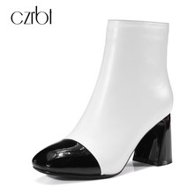 CZRBT Brand Patchwork Toe Women Ankle Boots High Heels 8cm Quality Handmade Genuine Leather Shoes Women New Fashion Big Size