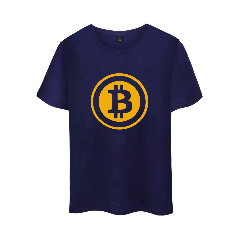 Digital currency Bitcoin Logo Cotton T-shirt Tee SHIRT t shirt Short Sleeve Sleeve Men Women Funny Tee Prevailing bitcoin logo