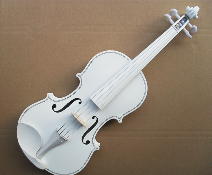 High quality white color violin 4/4 violin handcraft violino Musical Instruments with case