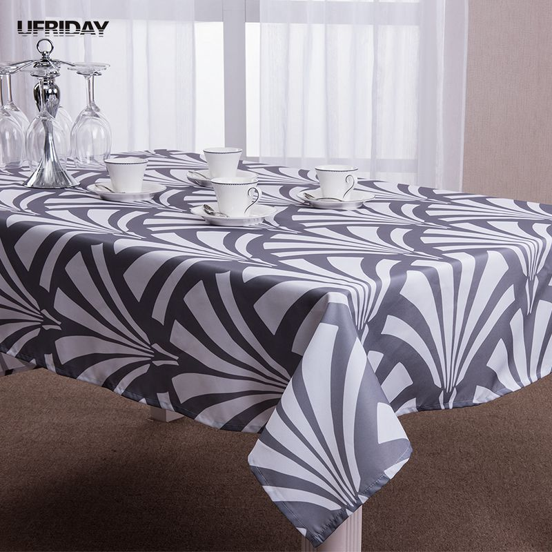 Ufriday Modern Geometric Pattern Tablecloth Oxford Fabric Table Cover Home  Decor Polyester Waterproof Square Gray Table Cloth
