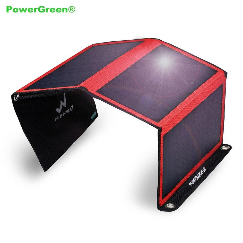 Powergreen pen bolsa de energía solar 5 v 2a cargador de teléfono solar de 21 va