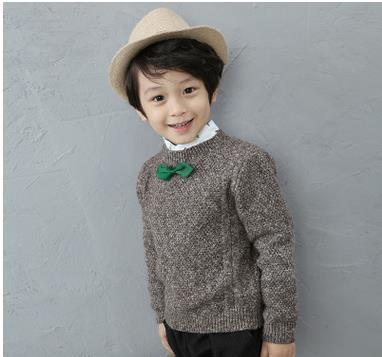 Meninos das crianças das crianças das Camisolas Crianças Rodada Coleiras Camisolas De Malha de Algodão Camisolas das crianças bow tie