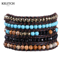 Kelitch Top Quality Turquoise Metal Agate Mixed Beads 5 Wrap Bracelets Handmade DIY Multicolor Women Bracelet