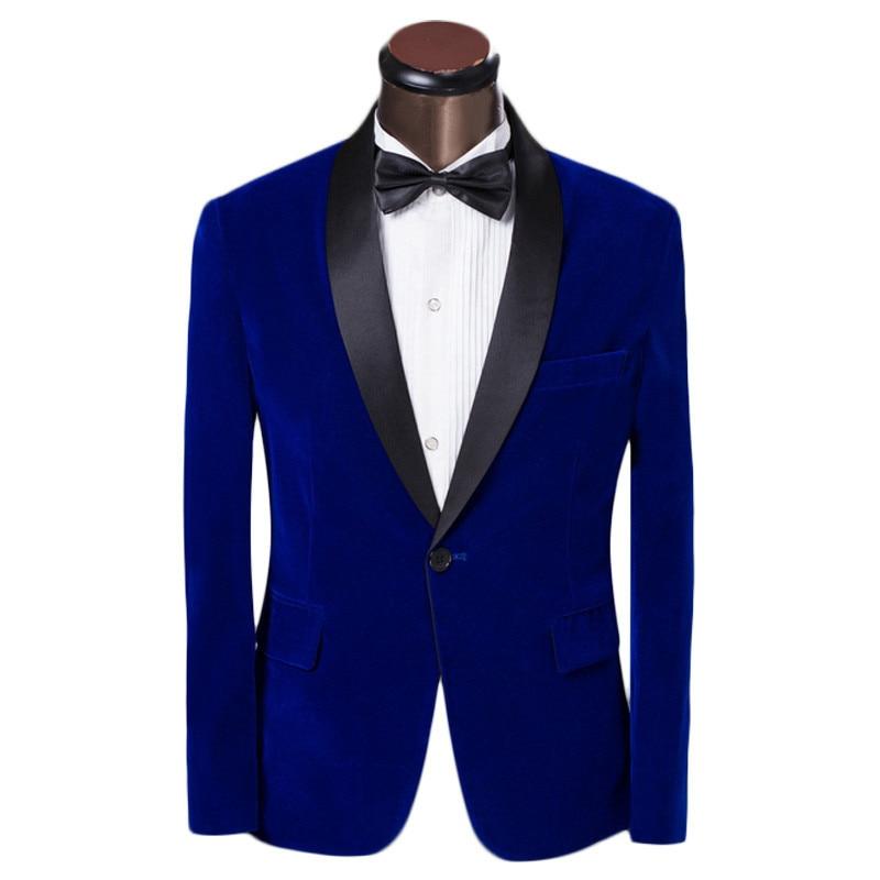 New Arrival One Button Blue Velvet Groom Tuxedos Groomsmen Men\'s ...