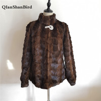 2018 Russian New Real Natural Stitching Mink Fur Coat Long Sleeve Ladies Collar Mink Fur Jacket Leather Sweat