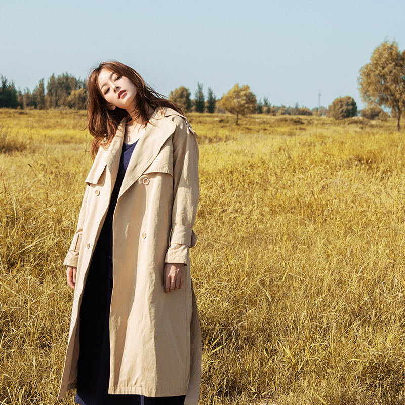 Autumn Harajuku Solid Long Sleeve   Trench   Coat For Women Double Breasted Sashes Long Coats Patchwork Windbreaker Outwear
