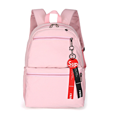 New Pink Canvas Backpacks Candy Color Waterproof School Bags for Teenagers Girls Laptop Patchwork Backpack 2019