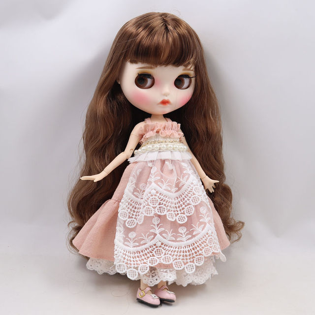 Blyth doll 1/6 bjd white skin joint body Cute wild brown long curly hair new matte face with eyebrows Lip gloss ICY sd toy
