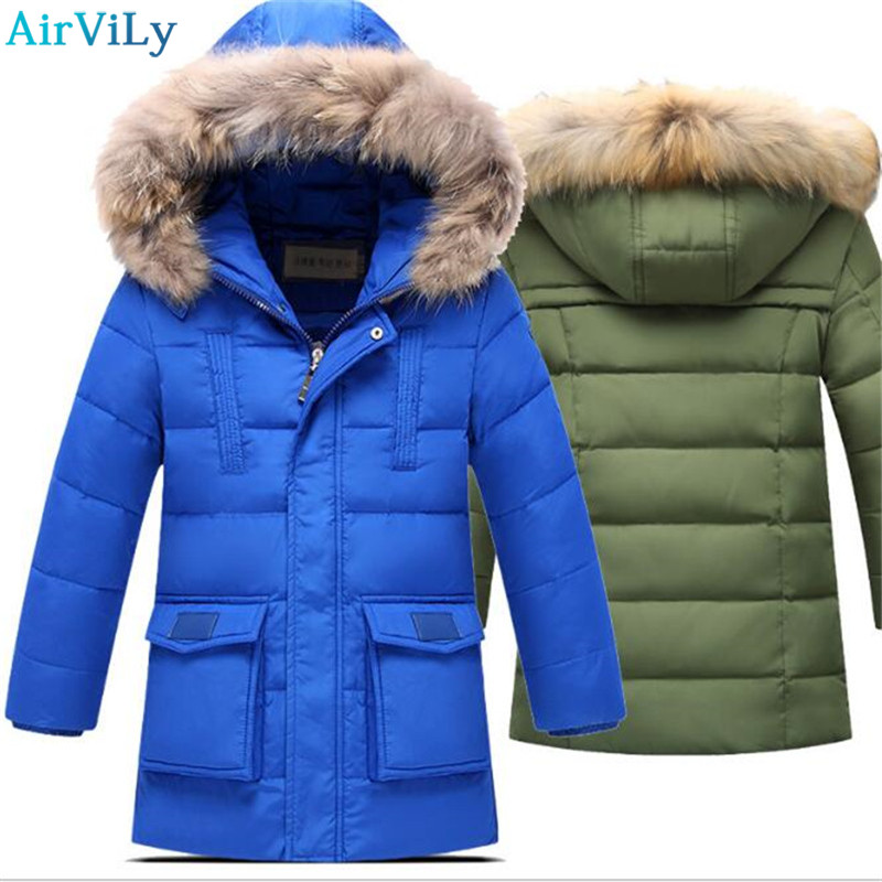 Boys Winter Jacket For Cold Winter Children Thick Duck Down Parkas Animal Fur Collar Kids Outerwear Boy Winter Coat -30 Degree new 2017 winter baby thickening collar warm jacket children s down jacket boys and girls short thick jacket for cold 30 degree