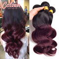 7A Brazilian Virgin Hair Body Wave 4 Bundles 1B/ 33 1B/Burgundy Brazilian Ombre Hair Extensions Two Tone Ombre Human Hair Weave