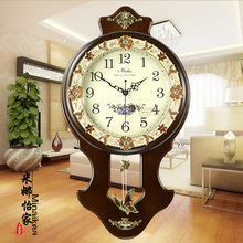 Q Home Decor European Mute Solid Wooden Antique Wall Clock Bedroom Large Quartz Pendulum Electronic Clock