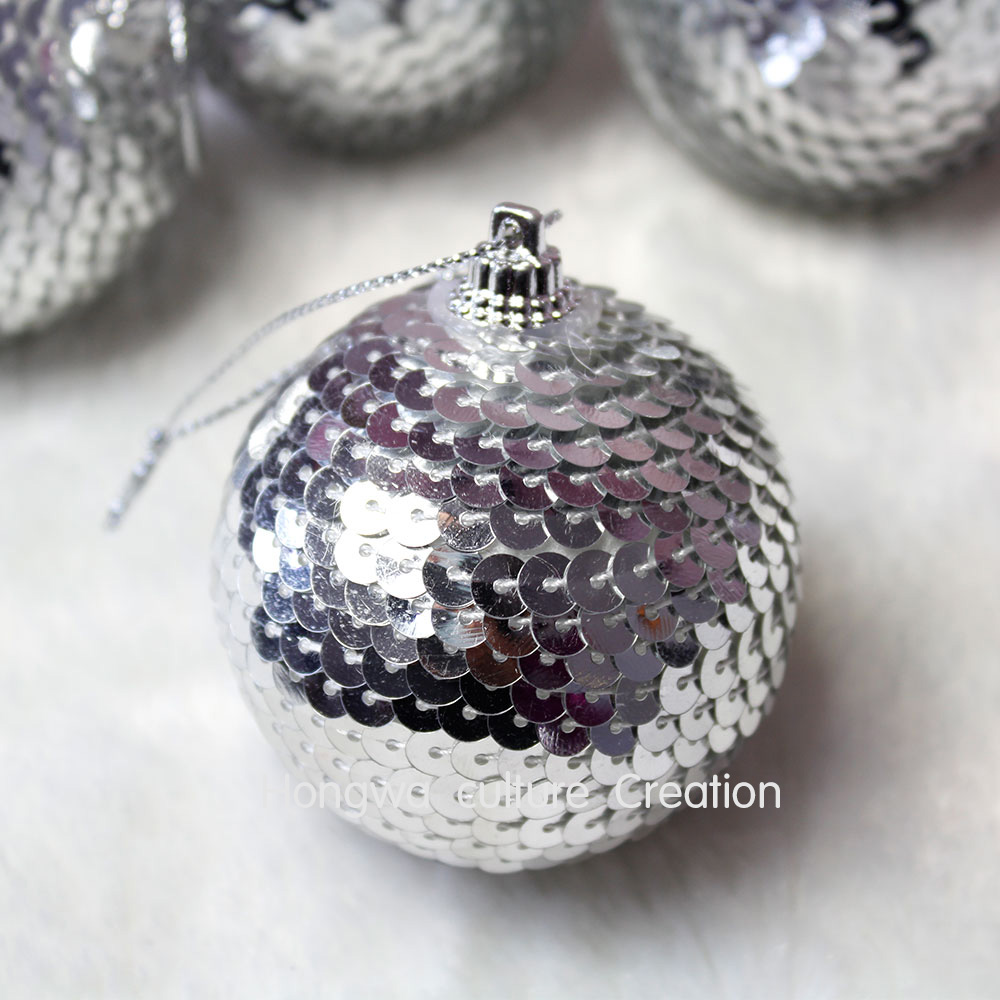 25th wedding anniversary christmas ornament - 6cm Silver Feather Covered Foam Ball Wedding Decoration Christmas Ornaments Shiny Paillette Balls Xmas Tree Hanging