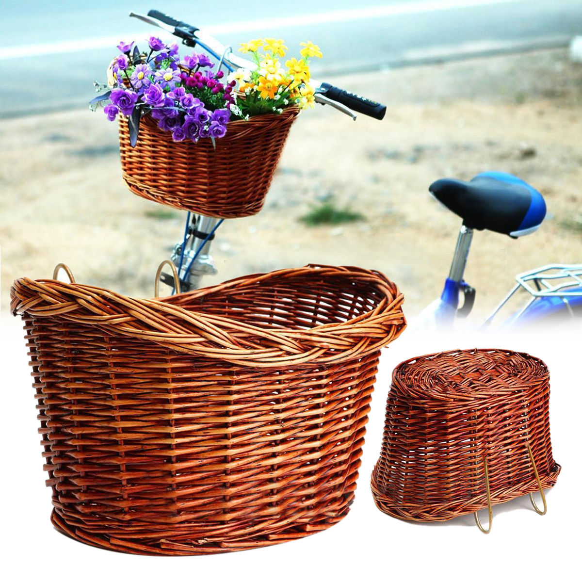 Wicker Dog Basket for Bikes Cat Carrier Pet  Cats Bicycle Bike Front Handlebar Four Outdoor