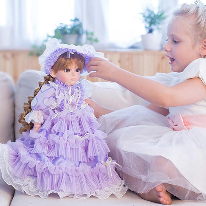 Девушка принцесса игрушки куклы 45 см винил 12 совместного органа говорят куклы лучший подарок детям играть дома игрушки boneca возрождается