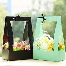 Flower Basket Paper Carton 5pcs Portable Flowers Packing Box Waterproof Florist Fresh flower Carrier Bag In Green Black Pink