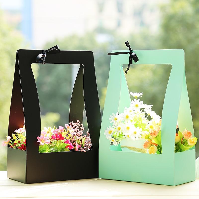 Paper Flower Basket 5pcs Portable basket Flowers packaging material carton portable florist Fresh flower Carrier Box