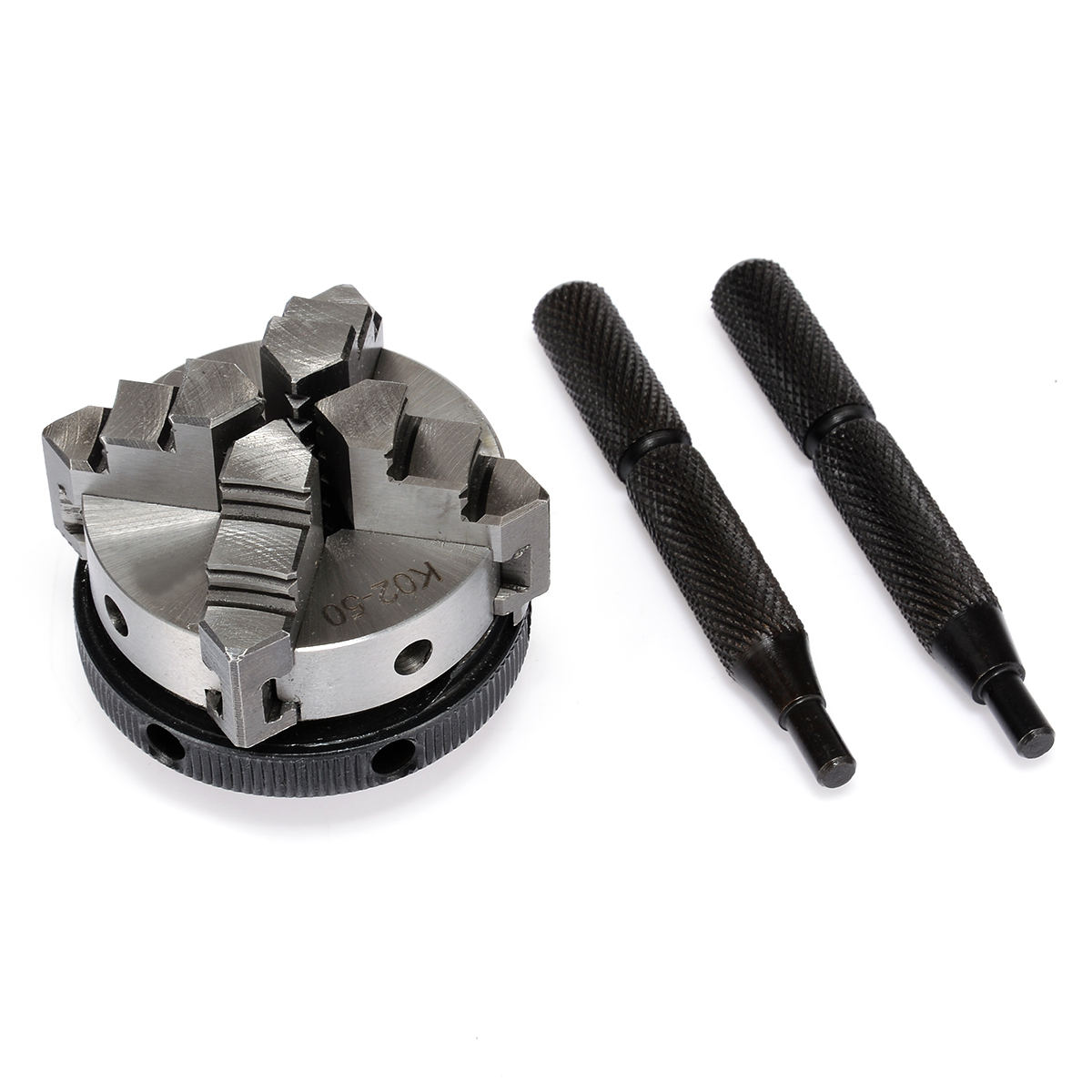Mini K02-50 4 Jaw Lathe Chuck 2 inch M14 Self-Centering Thread Mount with 2pcs Lock Rod with High Hardness