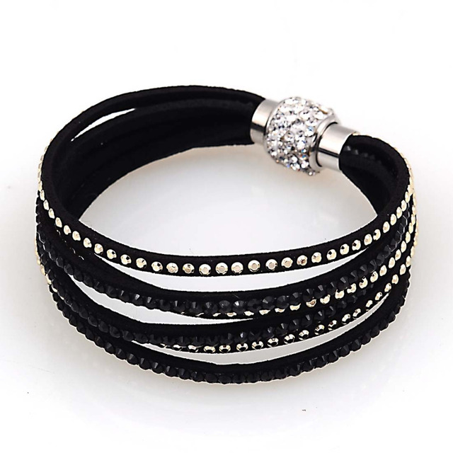 Magnetic Bracelets Crystal Bracelet With Multilayer Velvet Pave Clasp B1440