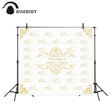 Allenjoy Photography Background Gold frame wedding backdrop name date and phrase can be customized background camera fotografica