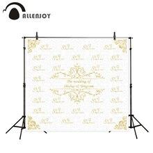 Allenjoy fotoğraf arka plan altın çerçeve düğün zemin adı tarih ve İfade özelleştirilebilir arka plan kamera fotografica